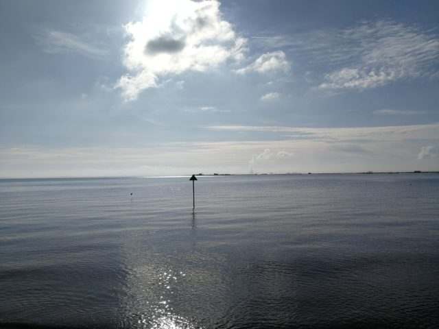 Southend Pier disappears into a blue horizon