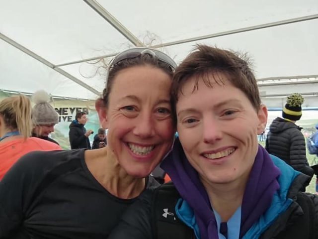 Chrissie Wellington OBE after her win, with Karen Hacker, 2nd Female in the 18 mile 'half marathon' at Endurance Life Dorset
