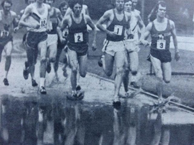 Steve Ovett, wearing 1 and Mike wearing 2, on the track in Brighton, 1975