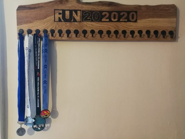 Run202020: Medal rack after 4 events