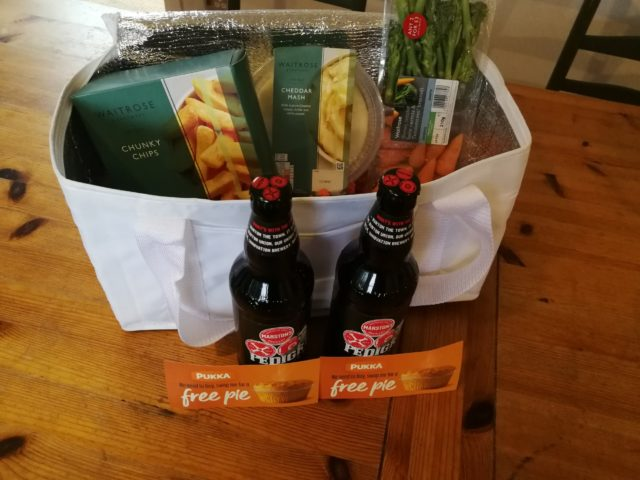 A fab winner prize of pie vouchers, wonderful beer and chilled side dishes from Waitrose